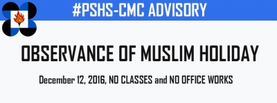 OBSERVANCE OF MUSLIM HOLIDAY